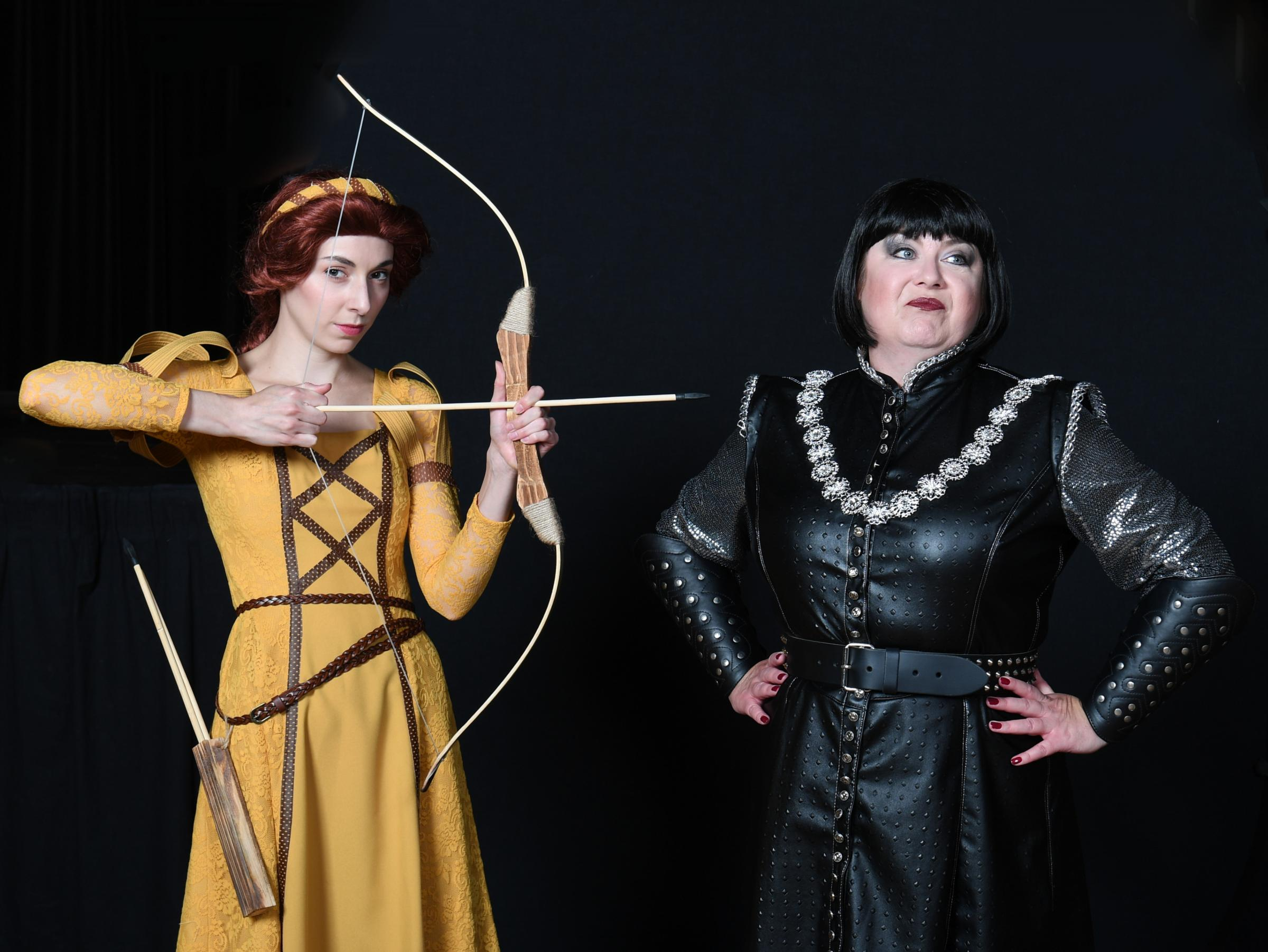 POINTED COMMENTS: Maid Marian (Genevieve Lowe) and Liz Grand as the baddie, The Sheriff of Nottingham.