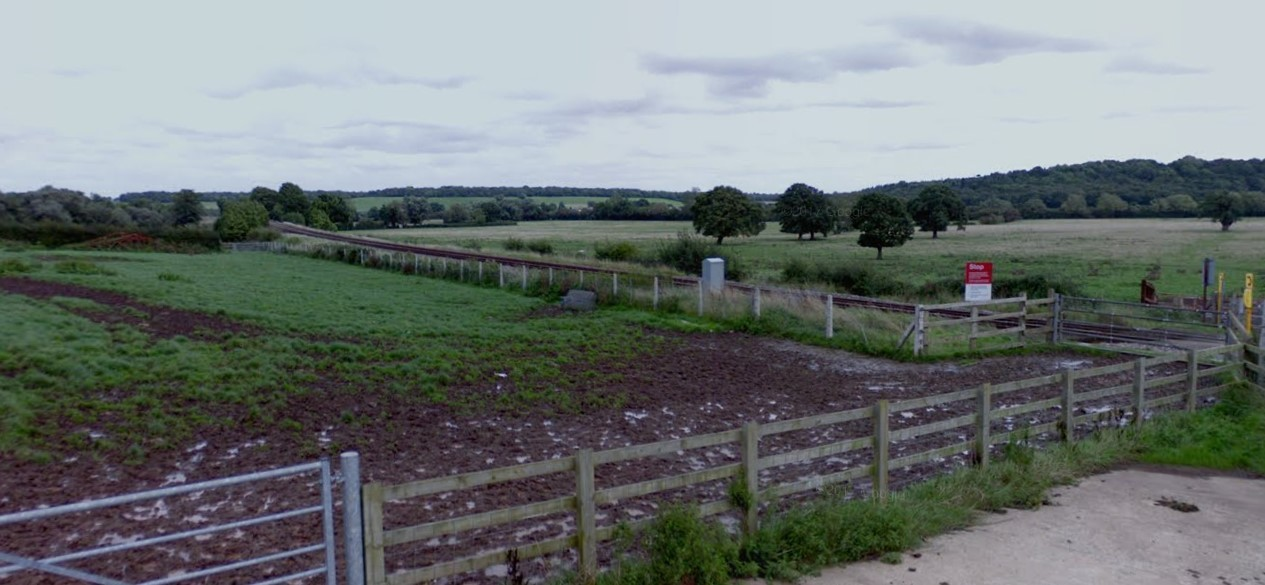 SCENE: View of the trainline from Evelench Lane, Tibberton. Photo courtesy of Google Maps