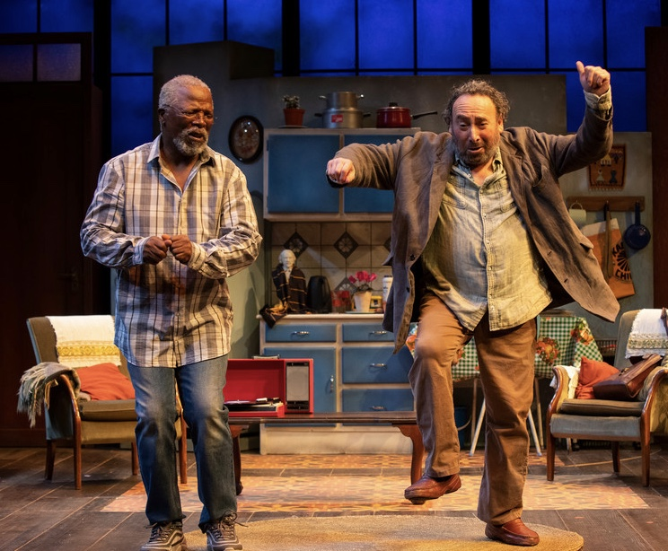 LET'S DANCE: John Kani and Antony Sher, as Kunene and Morris, share a lighter moment in a moving play. Photo by Ellie Kurtz.