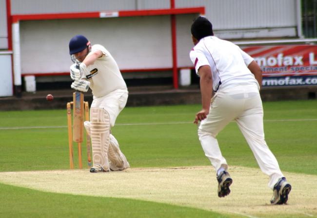 Redditch batsman Tom Field in action against Stourbridge during last year's clash at the War Memorial Ground. Picture: Miriam Balfry